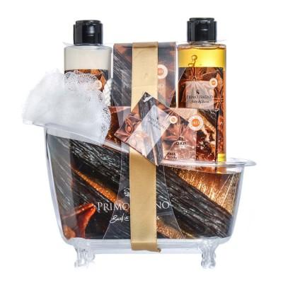 Vanilla Caramel Λοσιόν Σώματος 150ml, Αφρόλουτρο 150ml, Άλατα Μπάνιου 100gr, Σαπούνι 100gr & Σφουγγάρι
