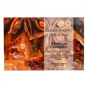 Vanilla Caramel Λοσιόν Σώματος 100ml, Αφρόλουτρο 150ml, Σαπούνι Ελαιολάδου 100gr & Σφουγγάρι Σετ Δώρου